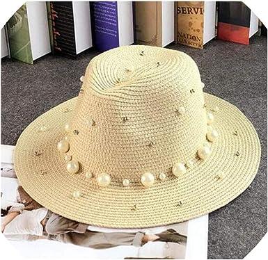 fantasticlife06 New Summer Hats for Women Flower Beads Wide Brimmed Jazz Hat Sun Visor Beach Hat Flower Pearl