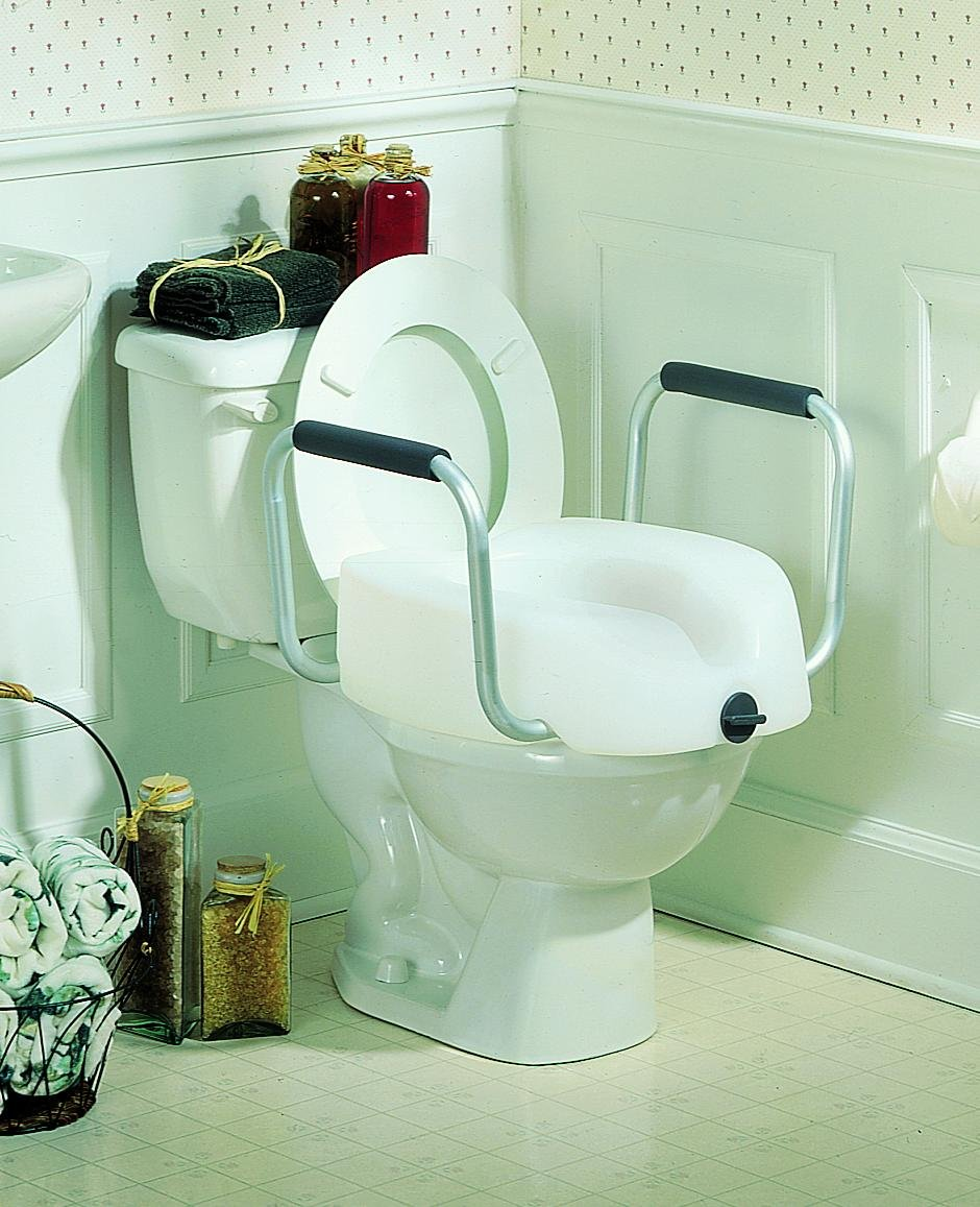 invacare clampon raised toilet seat with arms