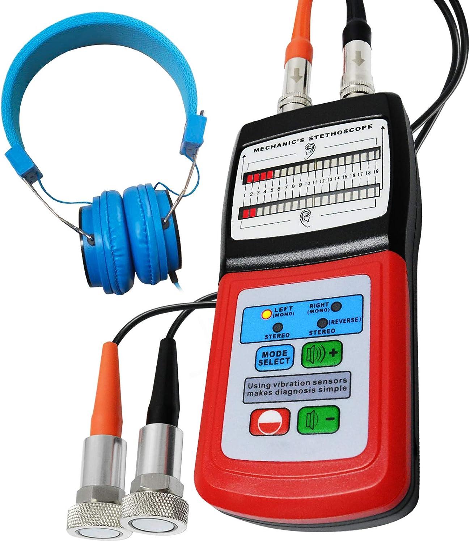 Mecánica Motor Estetoscopio 10~10KHz Frecuencia Distancia Digital con Sensor y Sonda para Sonar Ruido Detección Automotor Automóvil Coche Conjunto Equipo