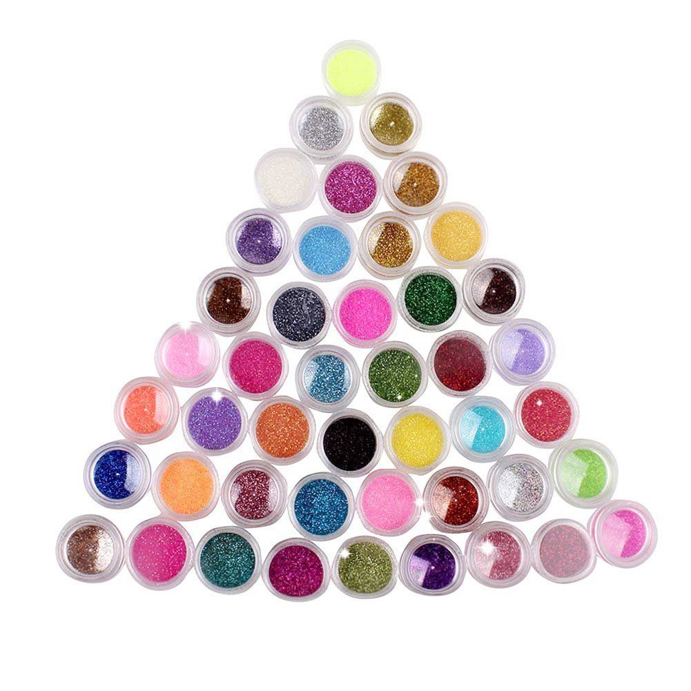 Amazon.com: 12 Color Nail Art Dust Glitter Powder DIY Decoration Uv ...