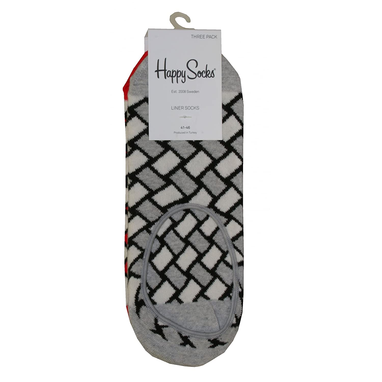 Grey//Red Happy Socks 3-Pack Basket Weave Mens Trainer Socks