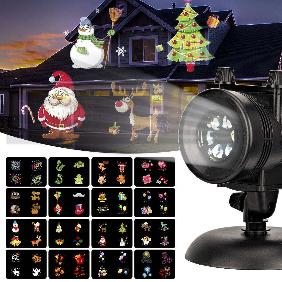 GIGALUMI Christmas Lights Projector, Waterproof Bright Led Landscape Lights for Halloween, Xmas, Indoor Outdoor Party, Yard Garden Decoration. (16 Slides)