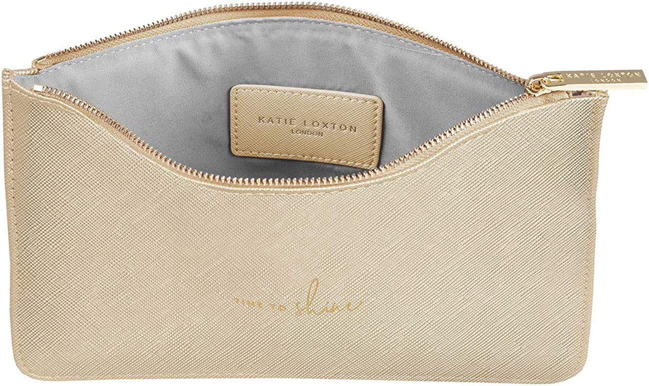 Katie Loxton Time To Shine Womens Medium Vegan Leather Clutch Perfect Pouch Metallic Gold