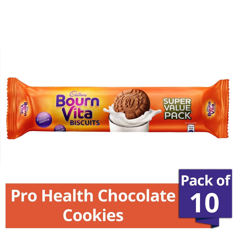Cadbury Bournvita Pro Health Vitamins Chocolate Biscuits, 120 gm Super Value Pack (Pack of 10)