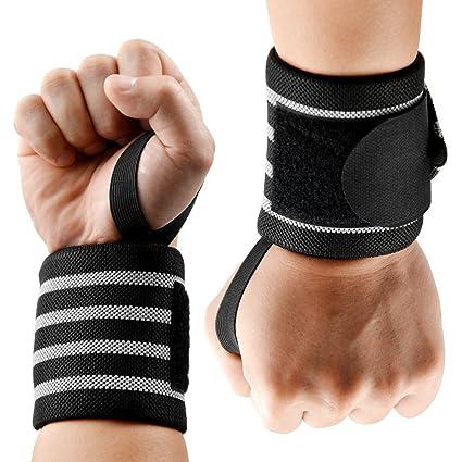 LASCOTON muñequeras de levantamiento de pesas para entrenamiento de gimnasio, correas de puño de 50