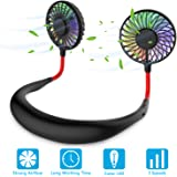 Hands Free Portable Neck Fan - Rechargeable Mini USB Personal Fan Battery Operated with 3 Level Air Flow, 7 LED Lights…