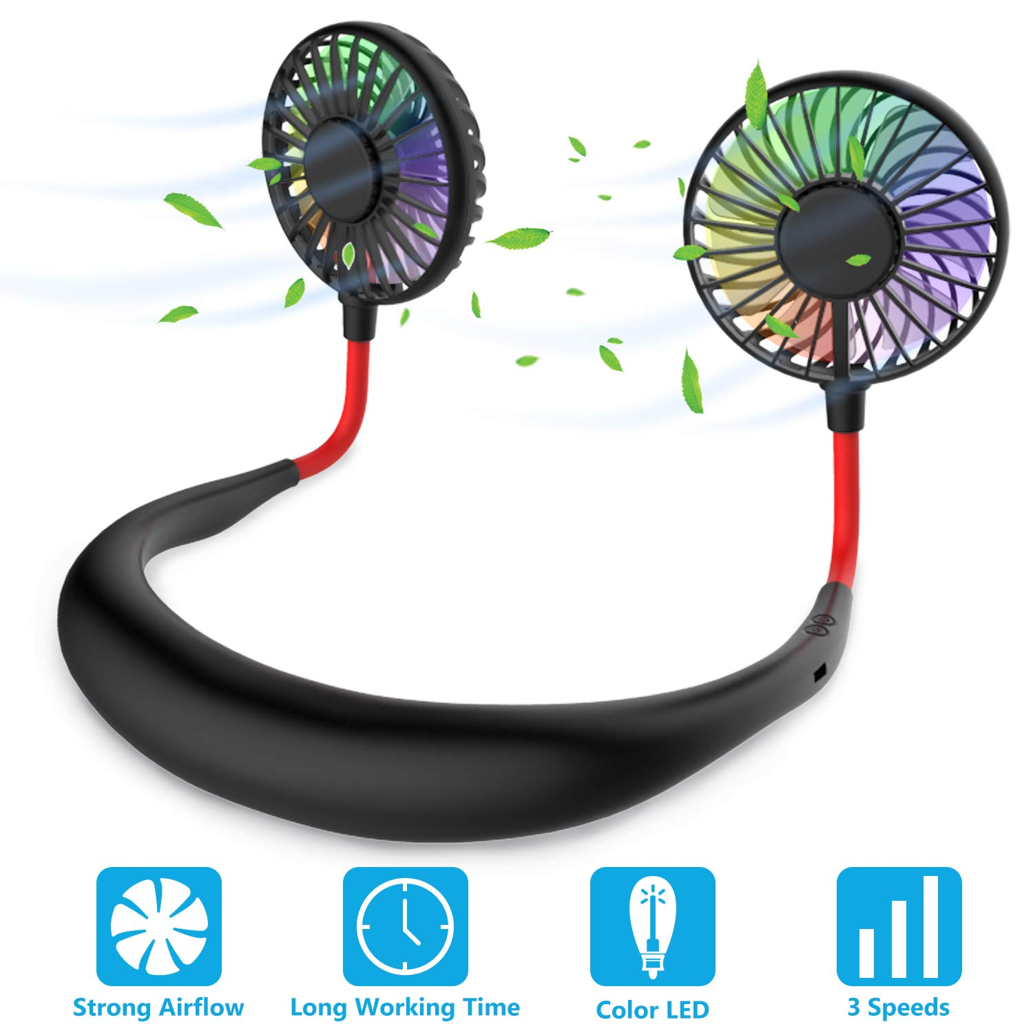Hands Free Portable Neck Fan - Rechargeable Mini USB Personal Fan Battery Operated with 3 Level Air Flow, 7 LED Lights for Home Office Travel Indoor Outdoor (Black) by GULAKI