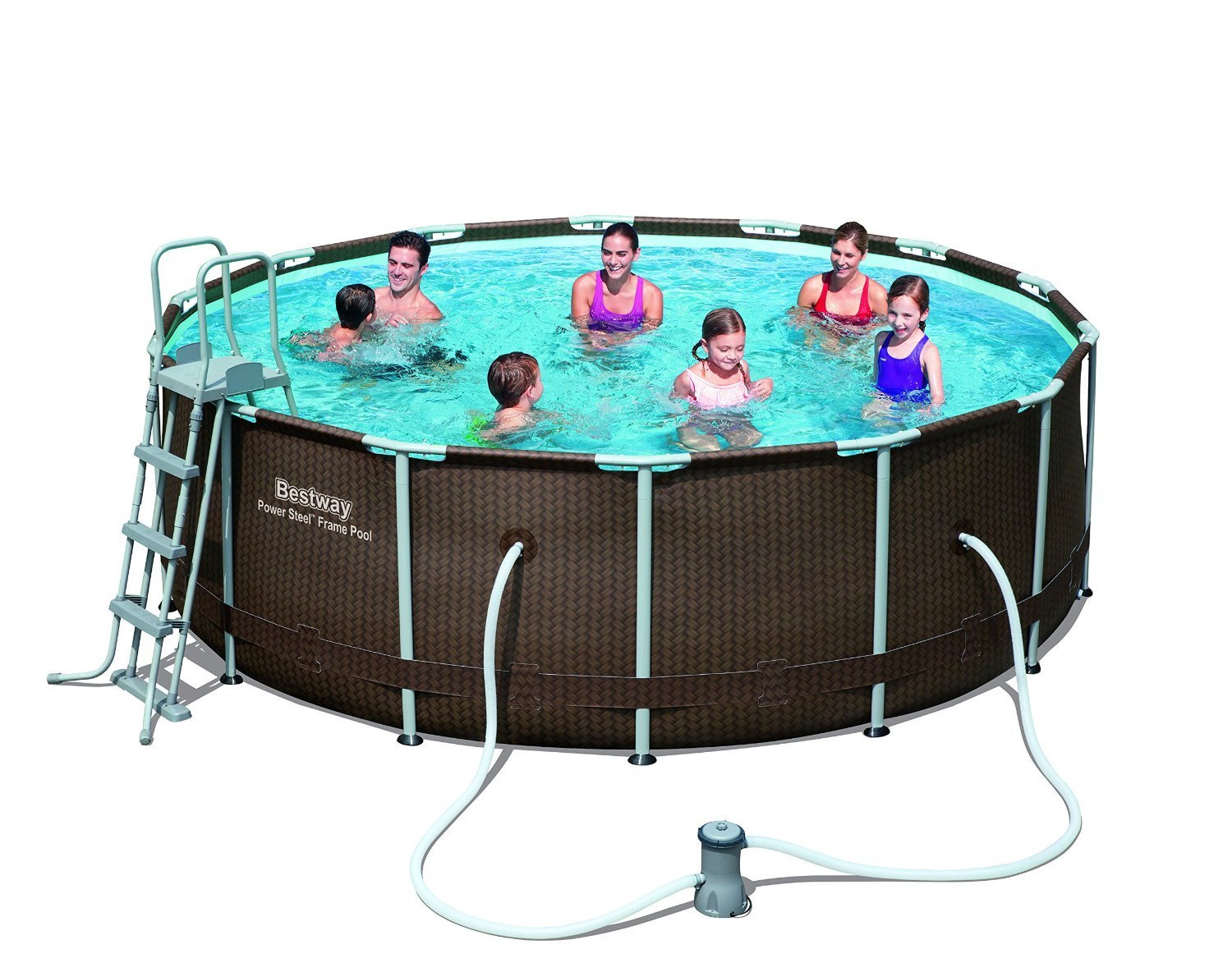 Large 14ft x 42 Inch Rattan Effect Steel Frame Pool Set with ...