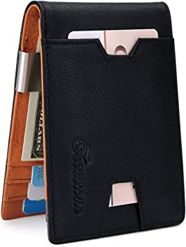 Money Clip Leather Wallet For Men Slim Front Pocket RFID Blocking Card Holder W