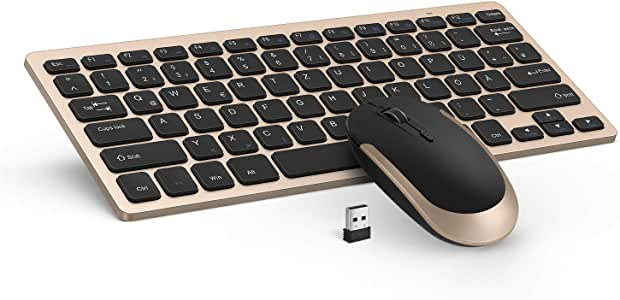 Jelly Comb [2.4G] Conjunto de teclado y ratón inalámbricos delgados portátil con diseño alemán QWERTZ para laptop, PC y Smart TV, [negro y oro]: Amazon.es: Informática