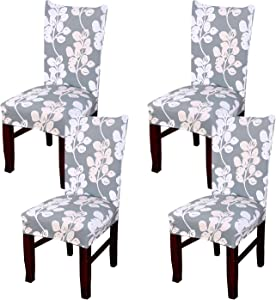 Coverurz Premium Stretch Fit Removable, Washable Spandex Dining Chair Covers, Seat Protector Slipcover for Dining Room, Hotel, Ceremony, Banquet and Wedding and Party (4 Per Set, CCS013_Sage Green)