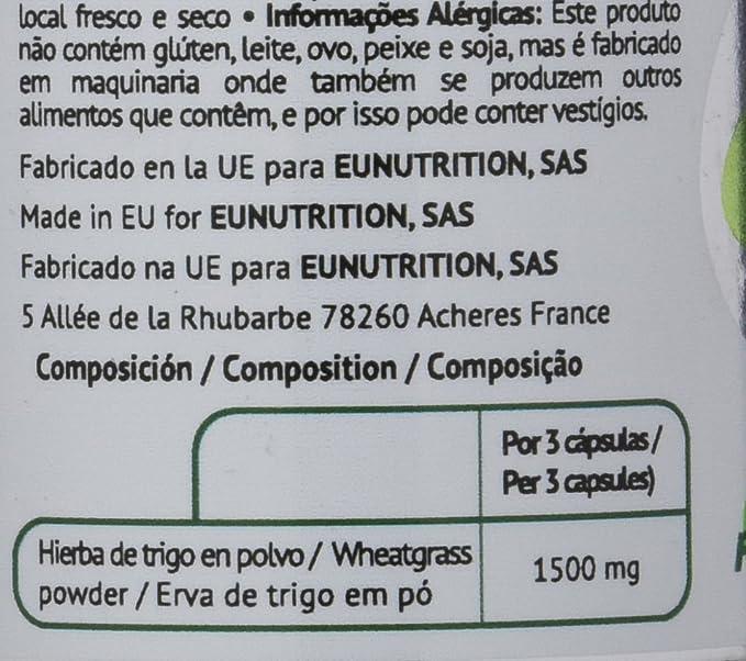 EU Nutrition Wheatgrass 100% BIO 500 mg - 100 Cápsulas