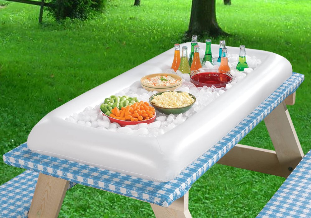 Inflatable Serving Bar Salad Ice Tray Food Drink Containers - BBQ Picnic Pool Party Supplies Buffet Luau Cooler,with a drain plug by Moon Boat (Image #3)