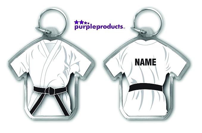 Llavero personalizable en forma de gi blanco con cinturón negro, para regalo, artes marciales, karate, kickboxing, judo, ju jitsu
