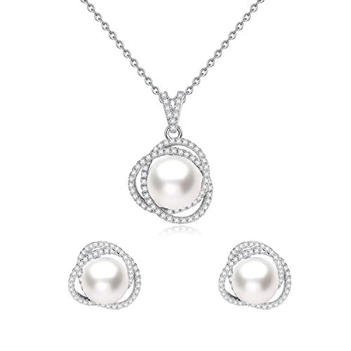 JORA Elegant Rose Gold Sterling Silver Cubic Zirconia Studded Earrings and Necklace Set
