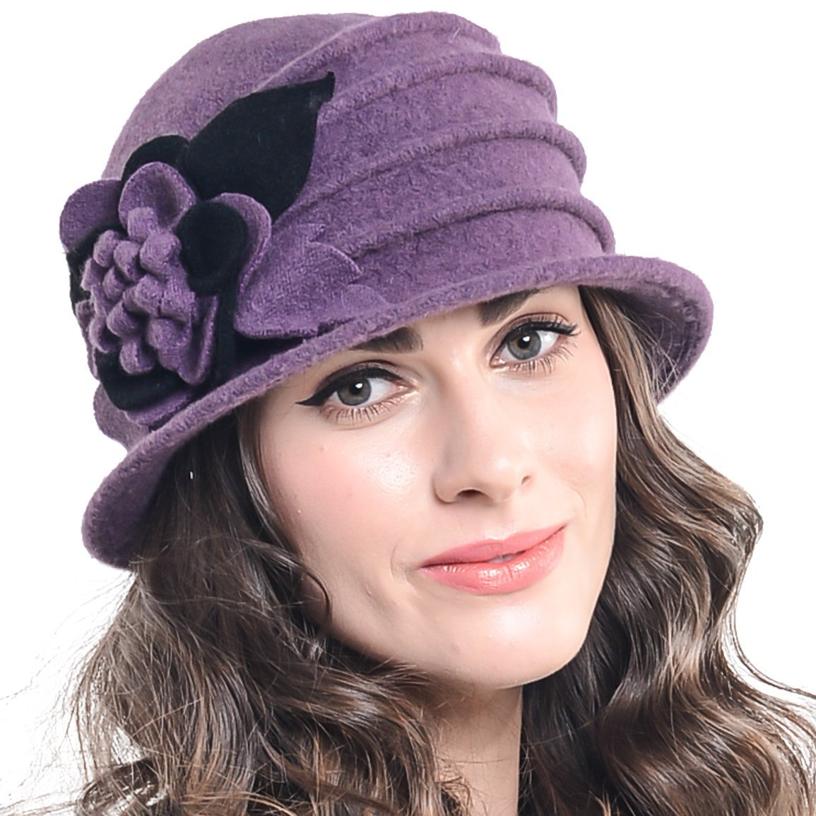 Retro Women Floral Trimmed Wool Blend Cloche Winter Hat (Purple)