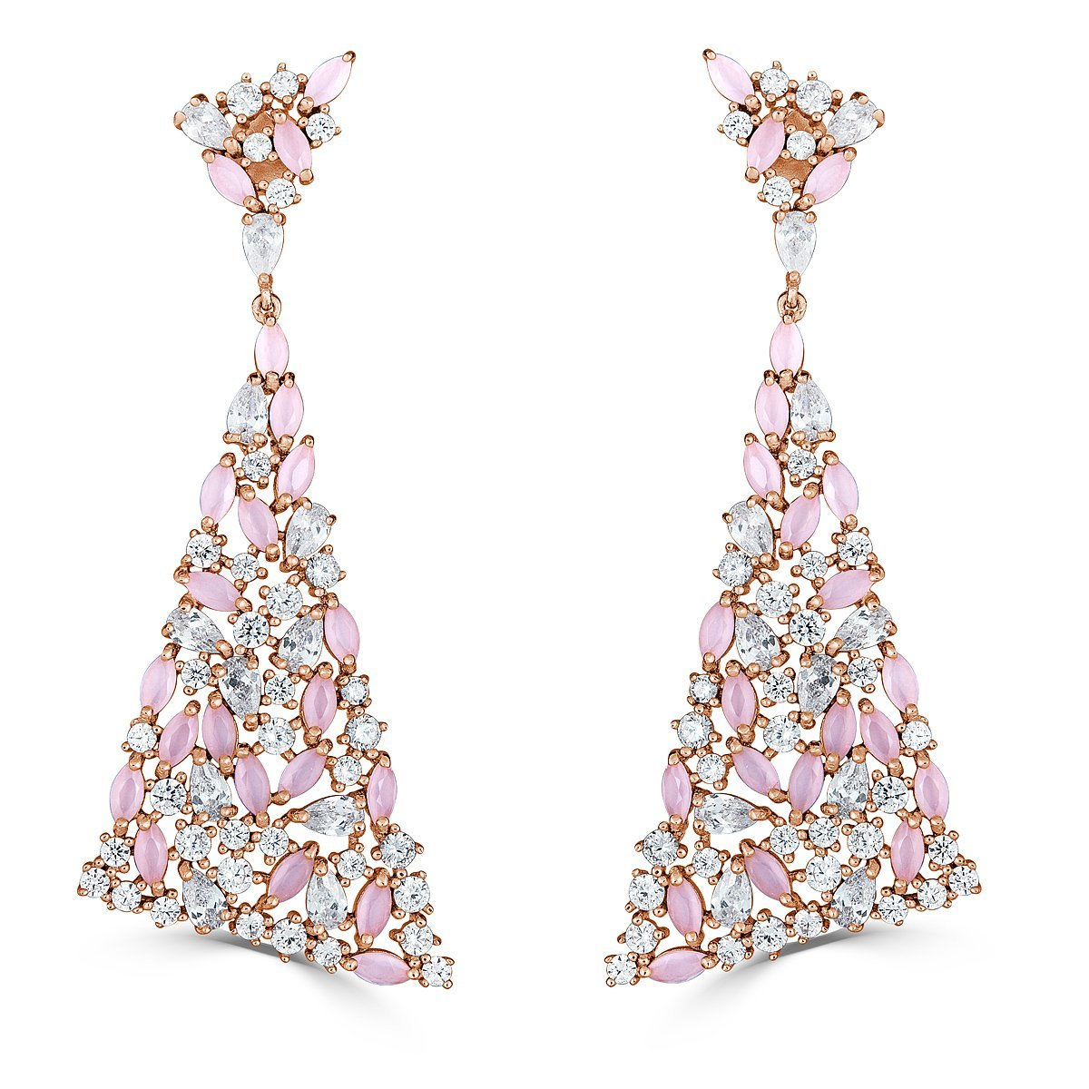 Rose Gold Plated Sterling Silver Cubic Zirconia Dangle Triangle Earrings by Caratina