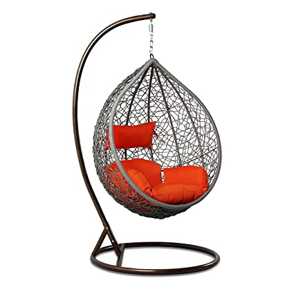 Perfect Island Gale Hanging Basket Chair Outdoor Patio Furniture With Stand And  Cushion(Grey Wicker,