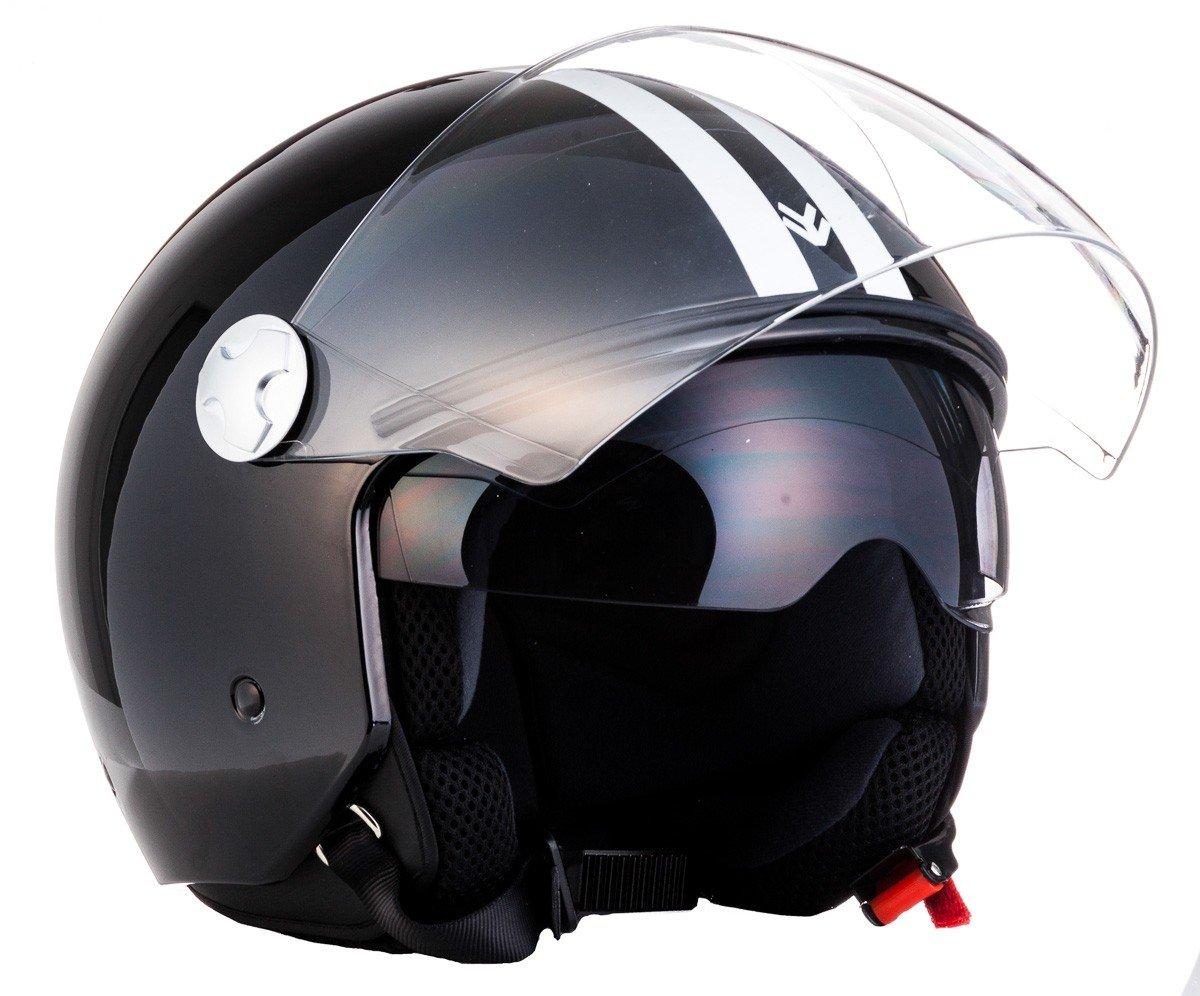 "black Armor /· AV-63 /""Fun Matt Black/"" /· Casco moto Demi Jet /· Helmet Urbano motocicleta Urban Retro Scooter /· ECE certificado /· Separate Visors /· Click-n-Secure/™ Clip /· XL 61-62cm"