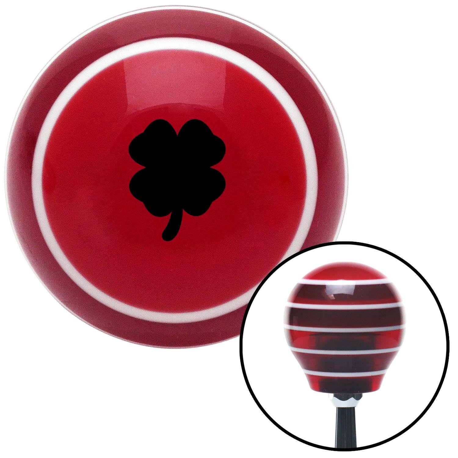 Black Clover Red Stripe with M16 x 1.5 Insert American Shifter 273756 Shift Knob
