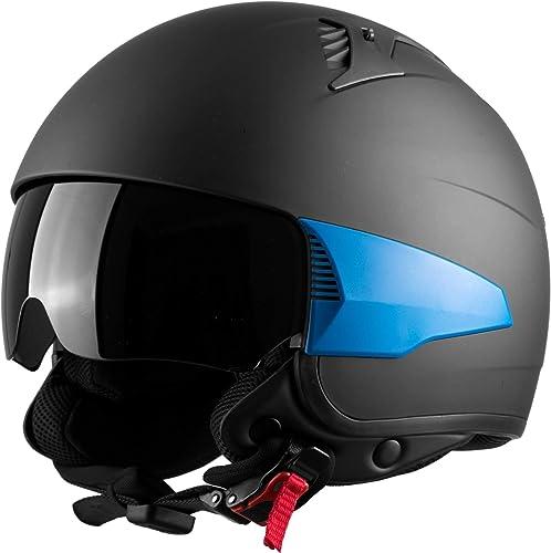 Westt Rover Motorcycle Open Face Moped Retro Style 3/4 Helmet