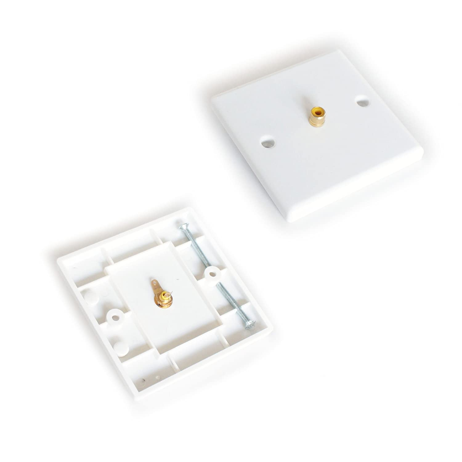 Single 1 RCA/PHONO Female Socket Wall Outlet Face Plate - Audio Sub Coax Composite - CableFinder Loops