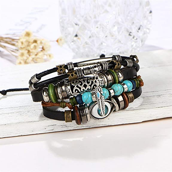 Blue Eye Bracelet Beading Multilayered Leather Bracelet Openwork Carved Vintage Bracelet MiLai Vintage Leather Bracelet