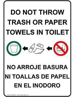 ComplianceSigns Vinyl Restroom Etiquette Label, 7 x 5 in. with English + Spanish,