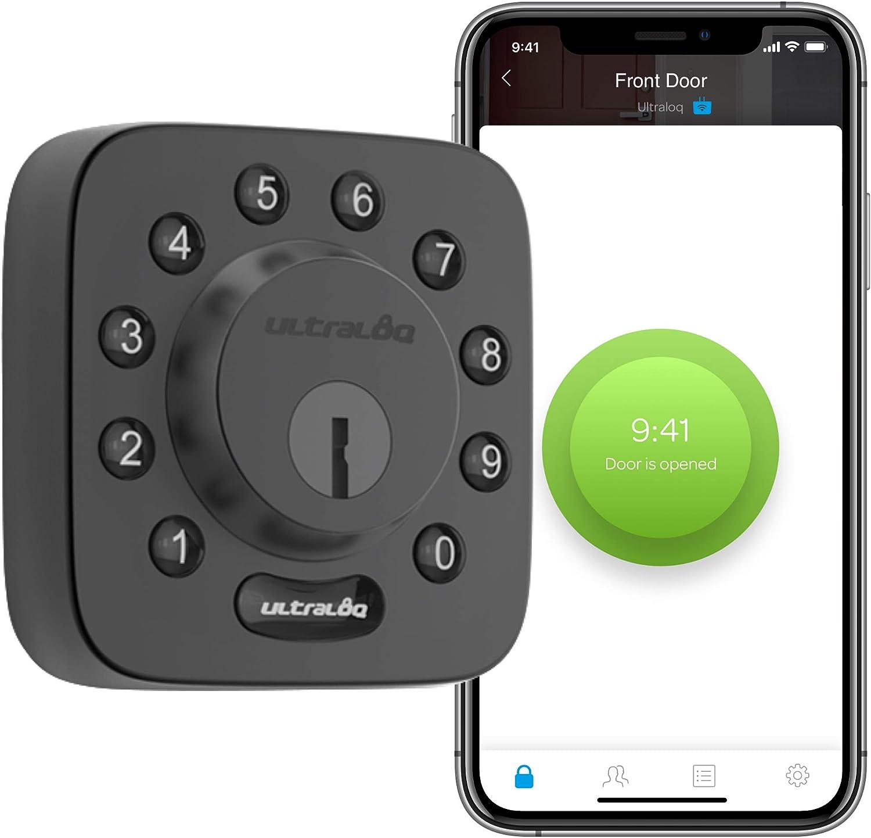 ULTRALOQ U-Bolt Smart Lock (Black), 5-in-1 Keyless Entry Door Lock with Bluetooth and Keypad, Smart Door Lock Front Door, Non-Fingerprint Deadbolt Lock Edition