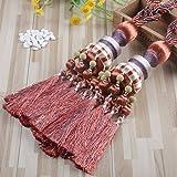 KISENG 1 Pair Beaded Tassels Curtain Tiebacks Rope Holdbacks for Bedroom (A Red brown)