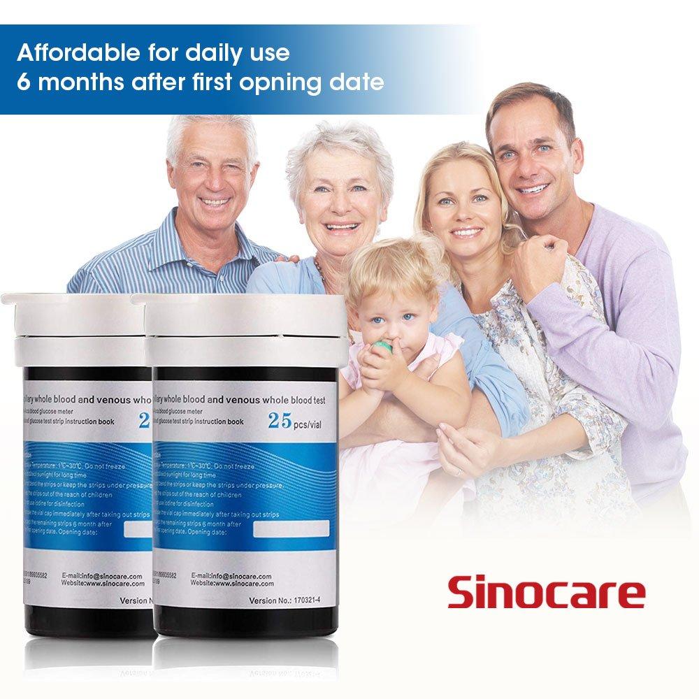 Glucosa en sangre tiras de prueba 50 + lancetas 50 para Sinocare kit de monitor de azúcar en sangre Safe Accu: Amazon.es: Salud y cuidado personal
