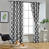 Melodieux Moroccan Blackout Curtains for Living Room Bedroom, Geometric Lattice Print Room Darkening Grommet Drapes-Grey and White,140 x 260cm-1 Panel