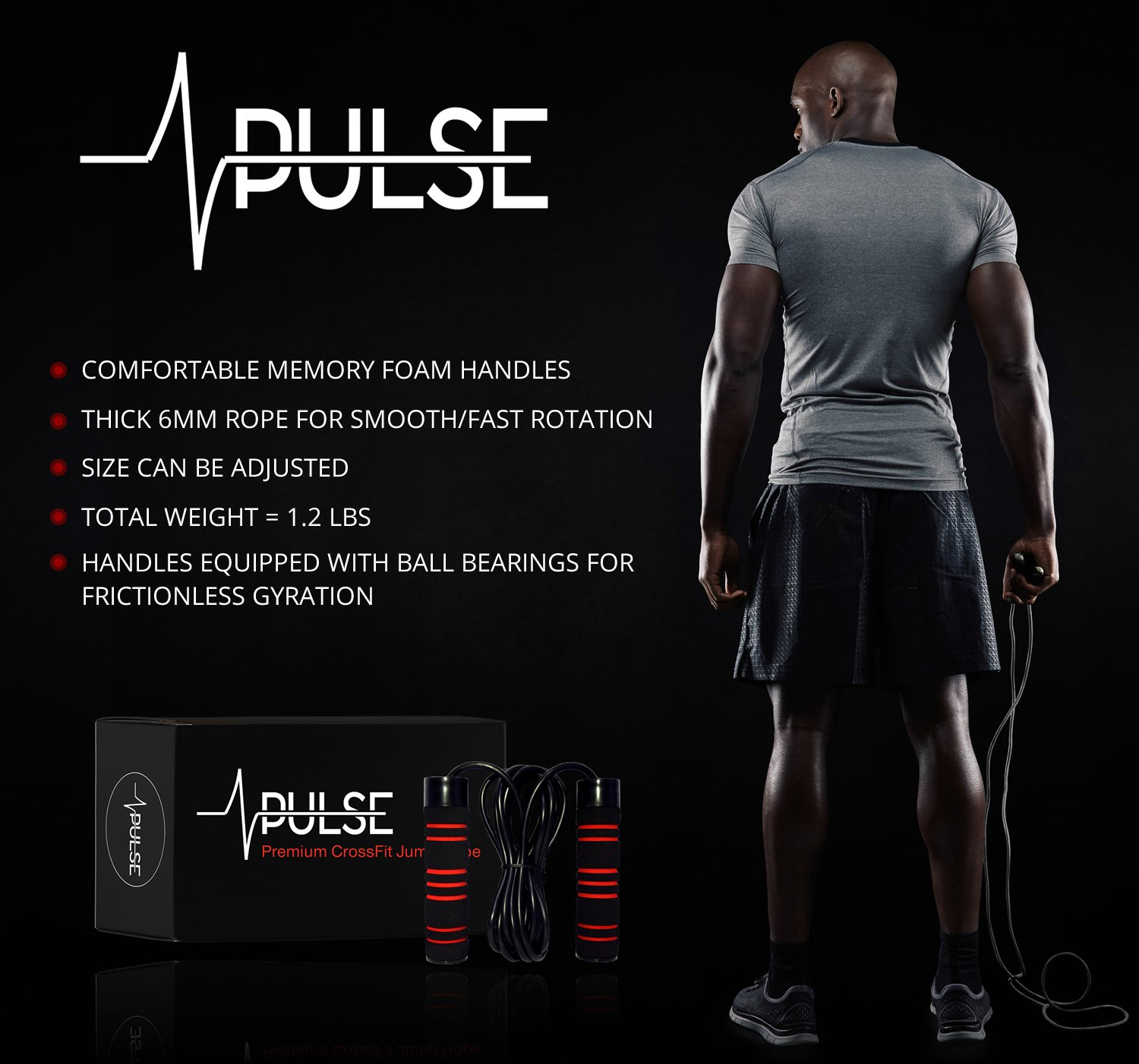 Weighted Jump Rope by Pulse with Memory Foam Handles and Thick Speed Cable 1LB