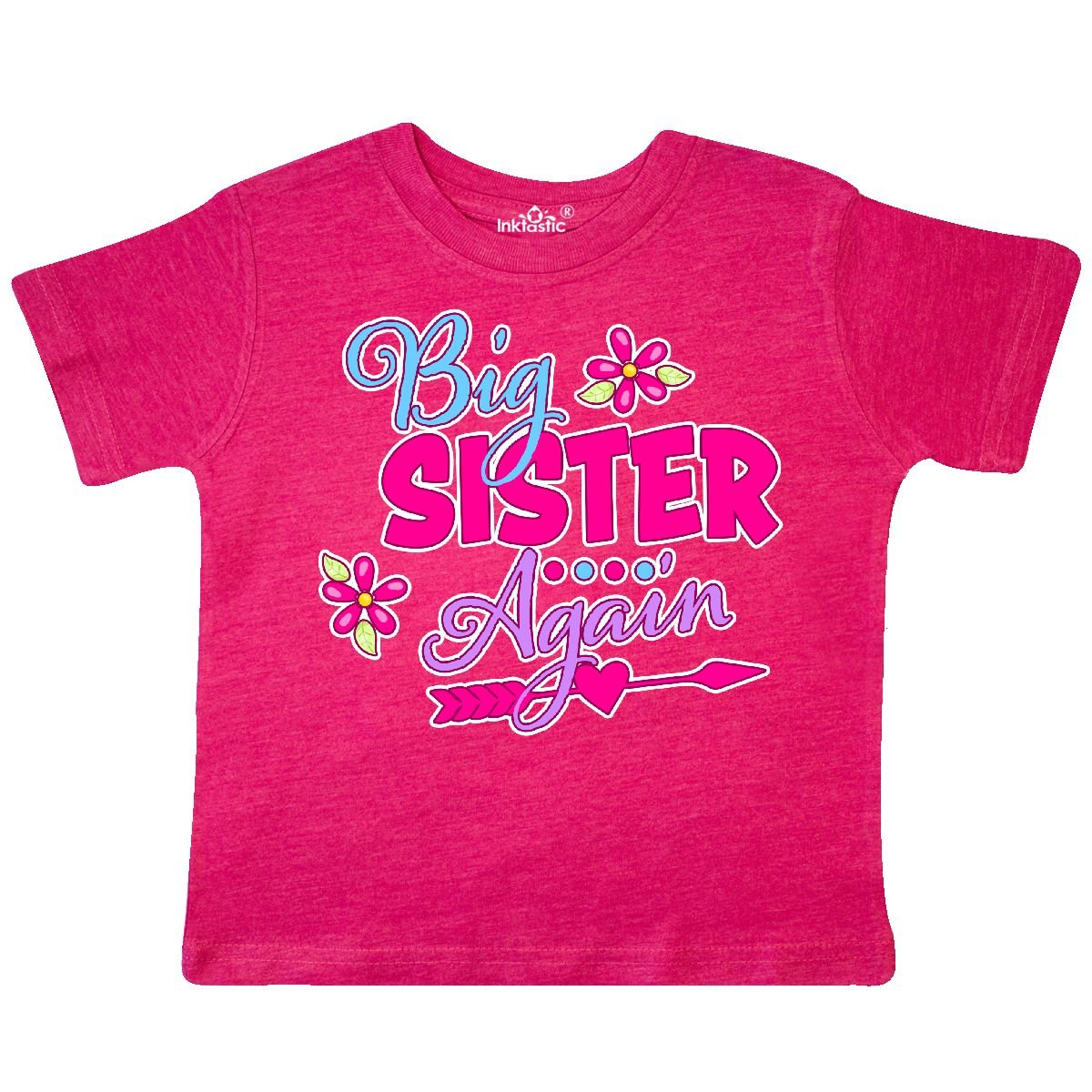 inktastic Big Sister Again with Flowers and Arrow Toddler T-Shirt