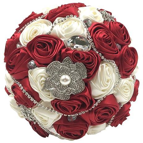 abbie home silk bridal bouquet with crystal rhinestones ivory grey rose wedding holding flowers burgundy