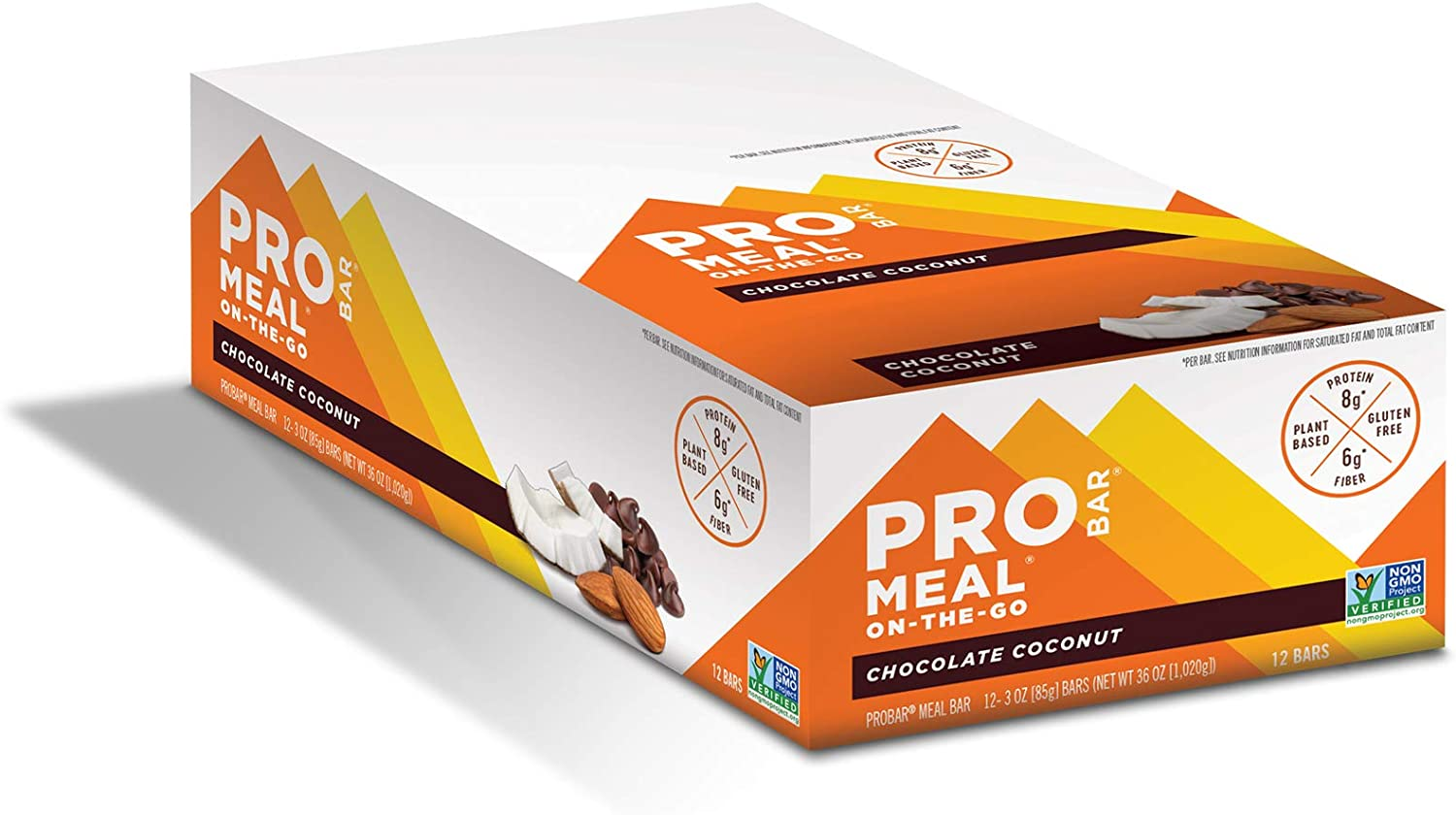 PROBAR - Meal Bar, Chocolate Coconut, Non-GMO, Gluten-Free, Healthy, Plant-Based Whole Food Ingredients, Natural Energy, 3 Ounce (Pack of 12)