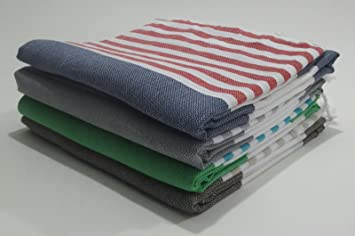 Paramus Turkish Peshtemal - Set of 4 - Genuine Flat Woven Turkish Towel - Pareo - Sarong - Picnic Blanket - Yoga Mat - Fouta by (Random Colors) (4, ...