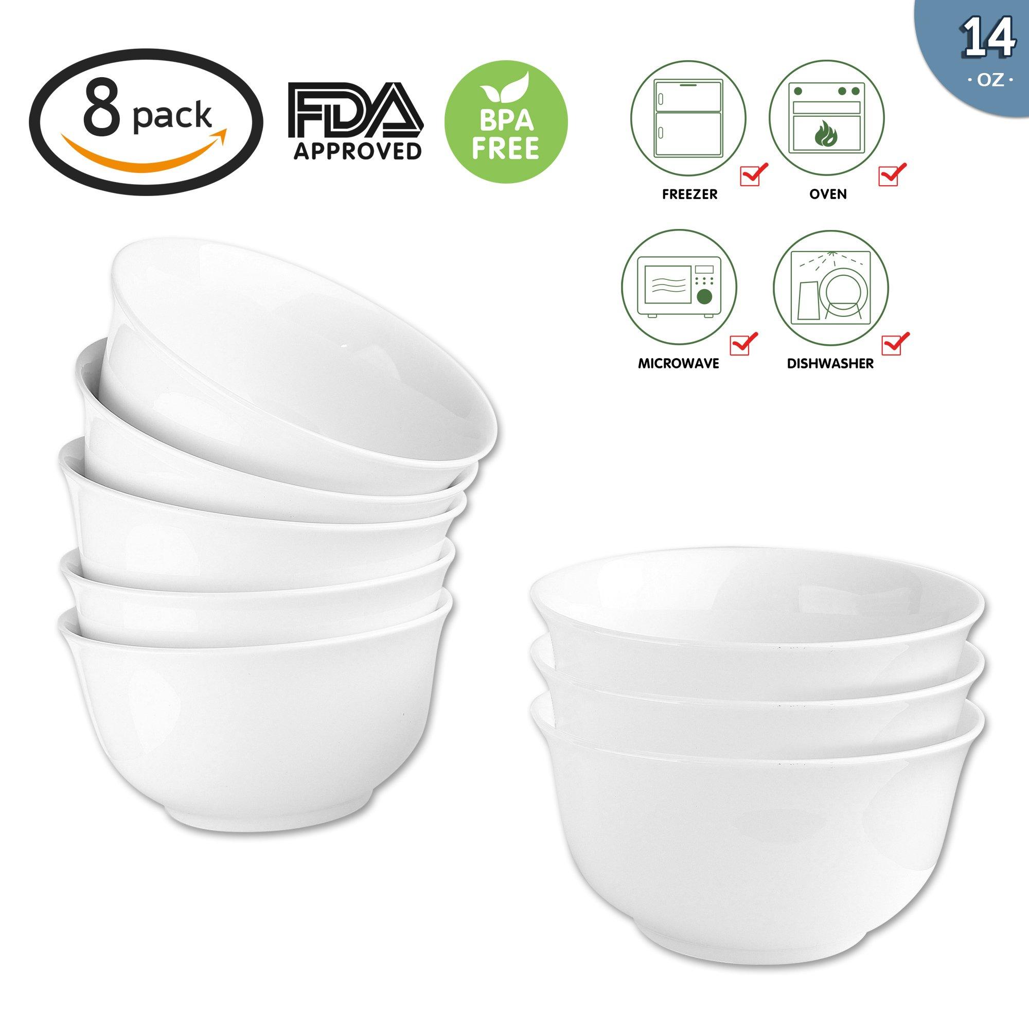 14-Ounce Porcelain Bowl Set,Porcelain Cereal,Soup Bowl Set,Dinner Set- 8 Packs,White,5 Inch