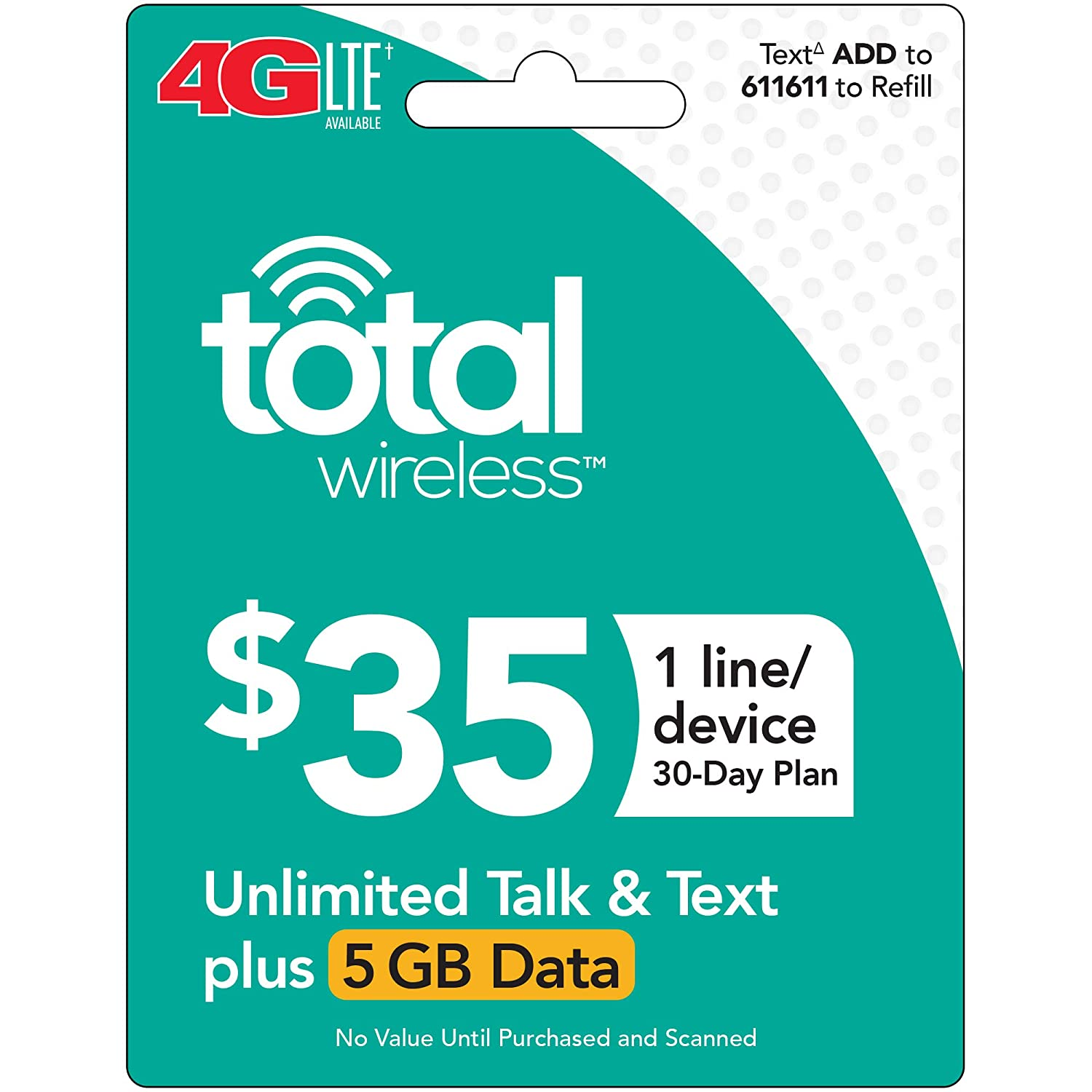 Total Wireless Single Line Plan - Unlimited Talk, Text and 5GB Data