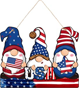 Jetec Patriotic Sign 4th of July Hanging Door Sign Gnomes Shape Independence Day American Rustic Wall Wooden Plaque with Rope for Indoor Outdoor Garden Party Decoration,12.2 x 9.6 Inch