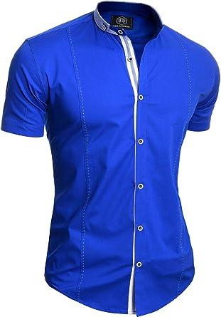 Camisa Elegante de Manga Corta para Hombre Cuello Alto Algodón Ajustado: Amazon.es: Ropa y accesorios