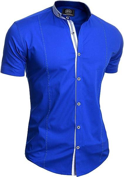 Men/'s Navy Blue Short Sleeve Shirt Elegant Grandad Collar Cotton White Cuffs Tie