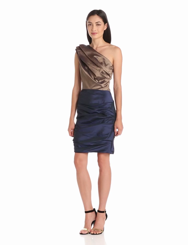 HALSTON HERITAGE Womens One Shoulder Colorblocked Dress with Pleat Details, Bronze/Midnight, 2