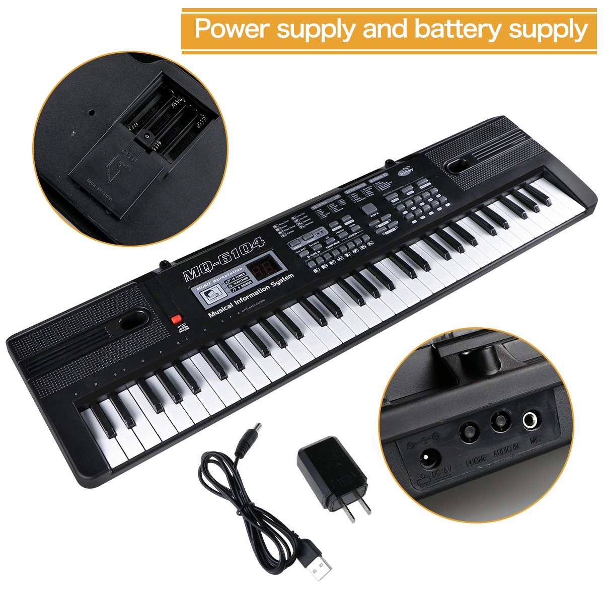 Portable Electronic Musical Instrument Multi-function Keyboard and Microphone for Kids Piano Music Teaching Toys Birthday Christmas Day Gifts for Kids Digital Music Piano Keyboard 61 Key