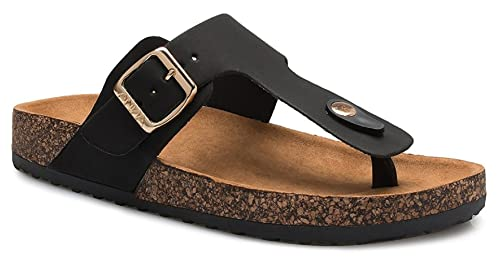 7046dcfd4ce Women s Slide Sandal Thong Slip On Flip Flop Toe Loop Cork Buckle Faux  Leather Beach Casual