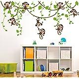 ufengke® Cute Monkeys Rampicanti Albero Adesivi Murali, Camera dei Bambini Vivai Adesivi da Parete Removibili/Stickers Murali/Decorazione Murale