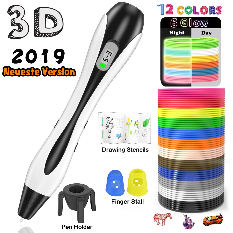 Penna 3D, Lovebay Professionale 3D Pen con Schermo LCD, Kit Completo per Principianti + 12 Multicolore Filamenti PLA di 1,75 mm, Ogni di 3,1 M, Totale 120 Piedi, Compatibile con 1,75mm ABS/PLA, Penna Stampa 3D è un Regalo Perfetto per Bambino e Adul