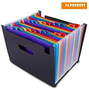 Carpeta Clasificadora Archivador Acordeon 24 Bolsillos Ampliación Carpeta de Archivos A4 Plastico Organizador Soporte Extensible Portátil TsLolly: ...
