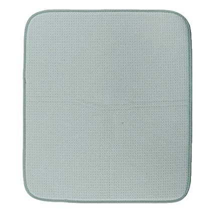 LOVIVER Microfiber Dish Drying Mats for Kitchen Drying Pads for Dishes  Thick Absorbent Drainer Mat - Green