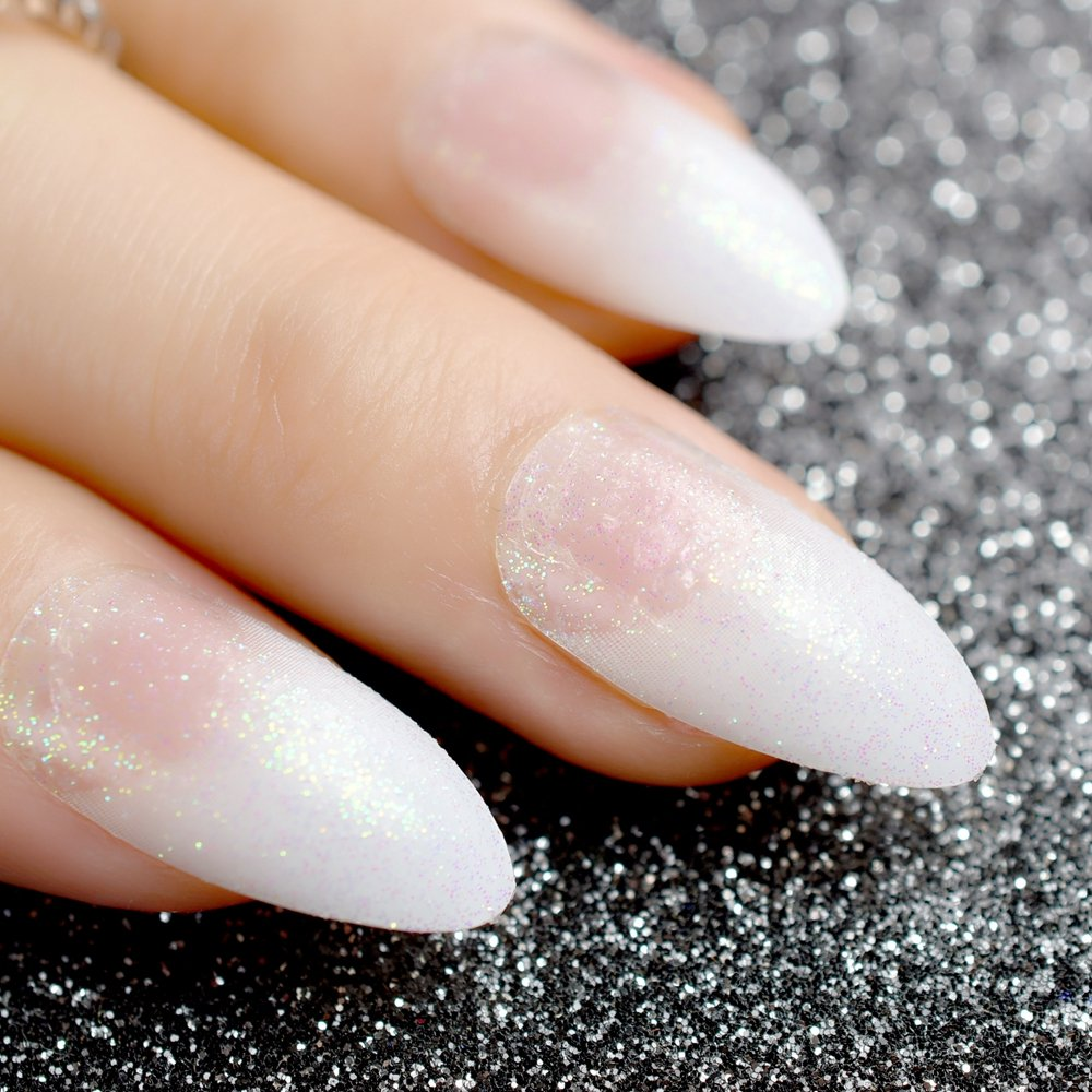 EchiQ White French Fake Nails Clear White with Shimmer Glitter